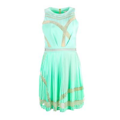 neon colour pleated dress mint